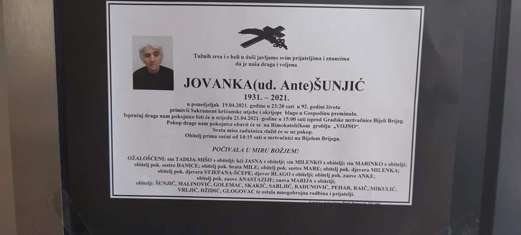 Preminula Jovanka Šunjić