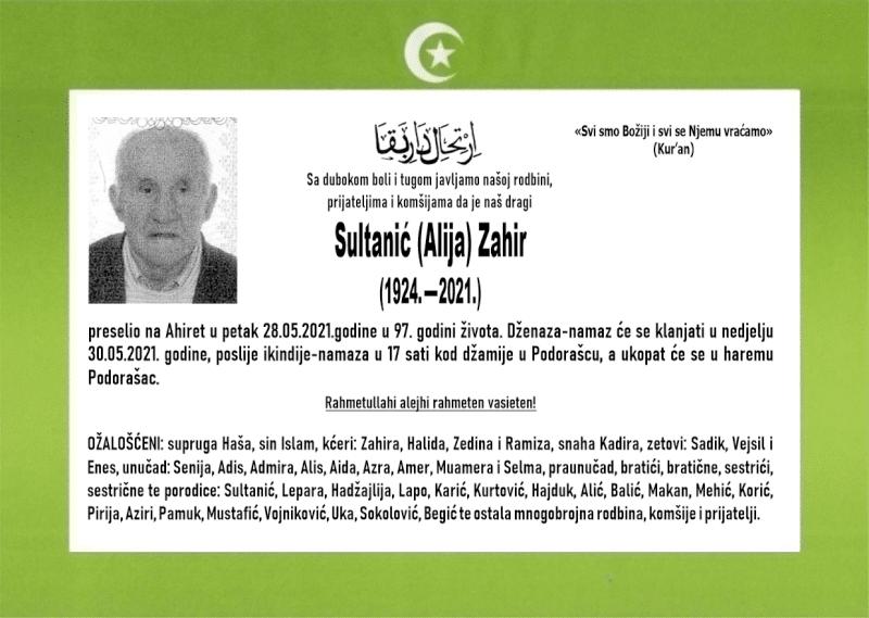 Preminuo je Sultanović Zahir