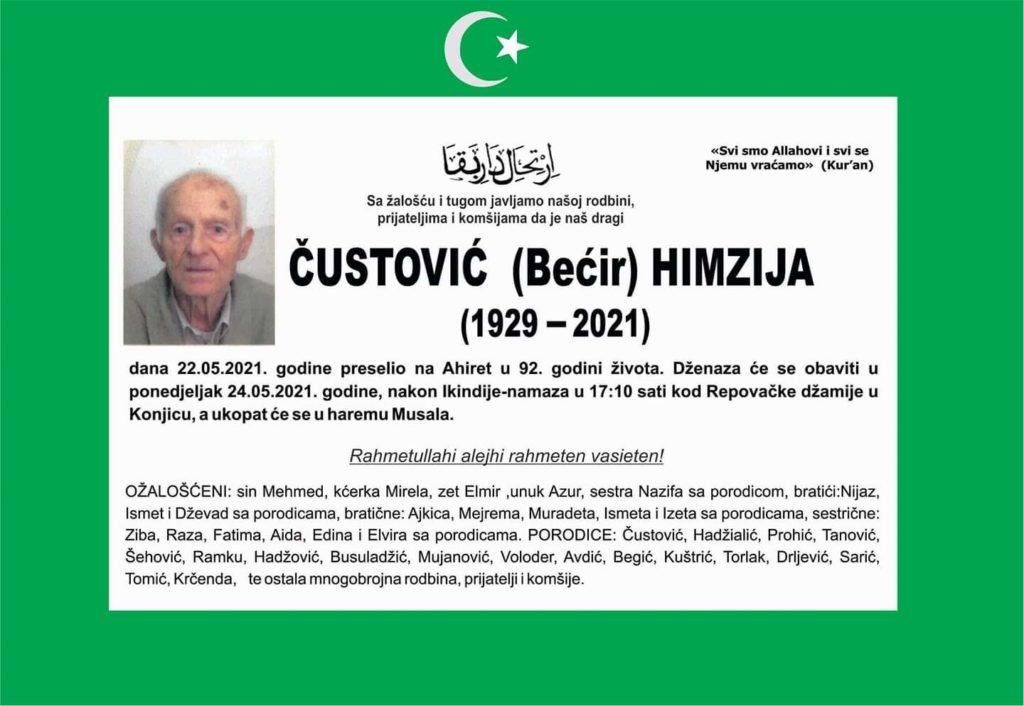 Preminuo je Himzija Čustović