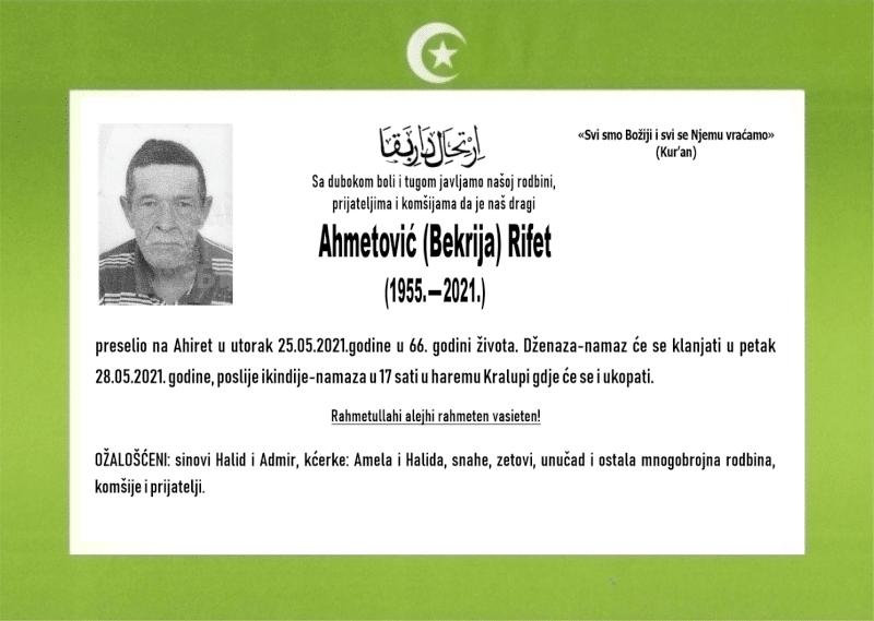 Preminuo je Rifat Ahmetović