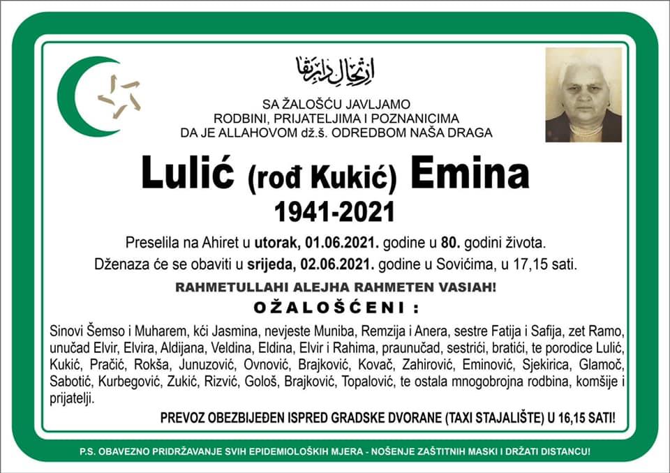 Preminula je Lulić Emina