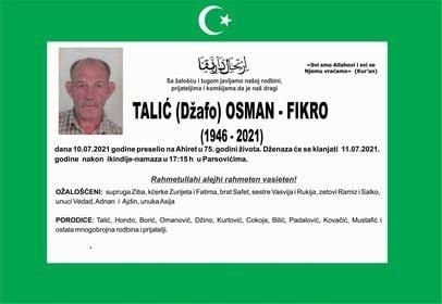 Preminuo je Talić Osman - Fikro