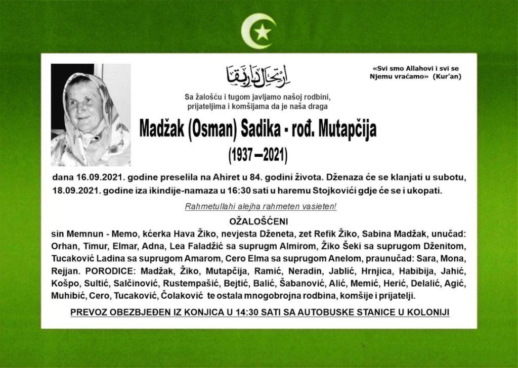 Preminula Madžak Sadika