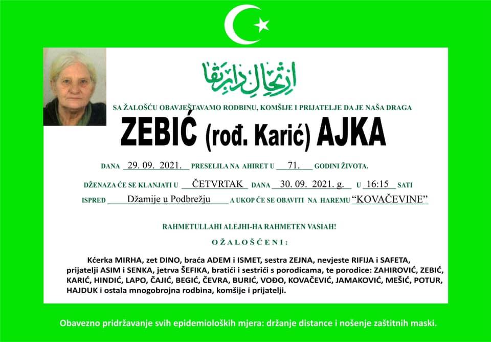 Preminula je Zebić Ajka