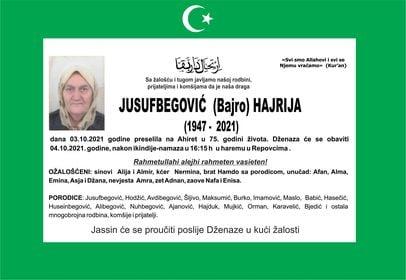 Preminula je Jusufbegović Hajrija