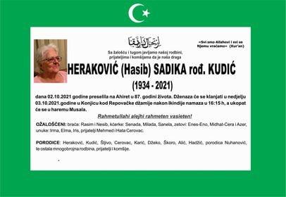 Preminula je Heraković Sadika